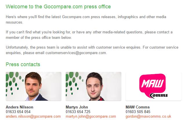 go compare press office