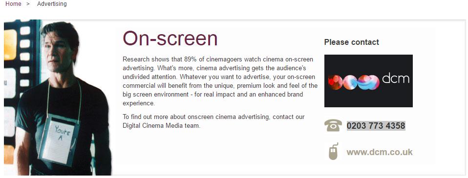 Odeon On Screen Advertising