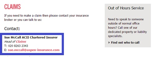 Aspen Insurance Claims number