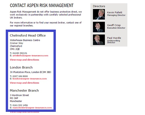 Aspen Insurance risk management contact information