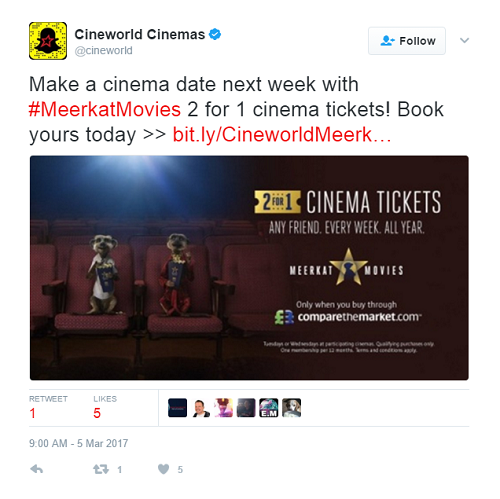 Cineworld Tweet