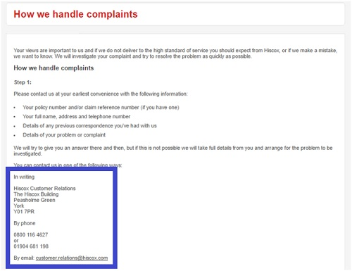 Contact information for filing complaints