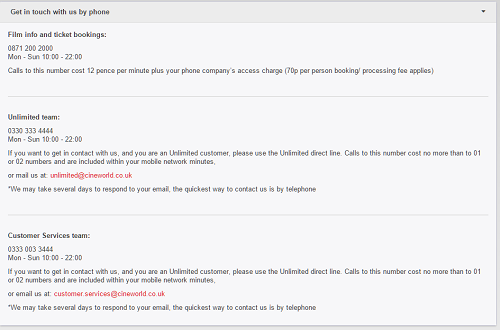 Contact Information for Cineworld UK