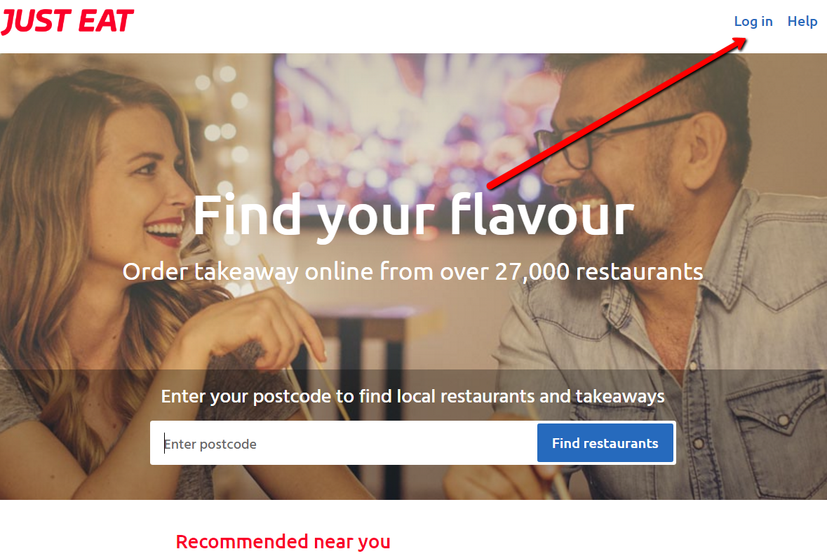 just eat log in