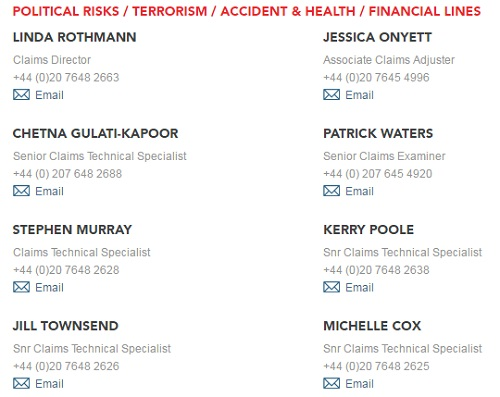 Political Risks Terrorism Accident Health Financial Lines Claims contact information