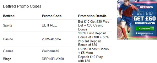 Promo Codes at Betfred for New Customers