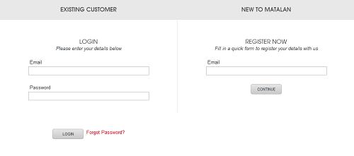login_or_register_on_Matalan_web