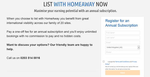 HomeAway Customer Service Contact Number: 0845 697 0273
