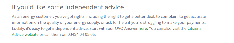 Ovo Energy Citizen Advice number