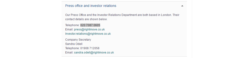 rightmove press office and investor relations
