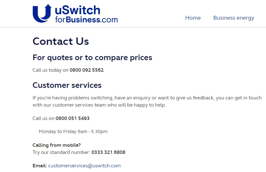 uswitchforbusiness customer service