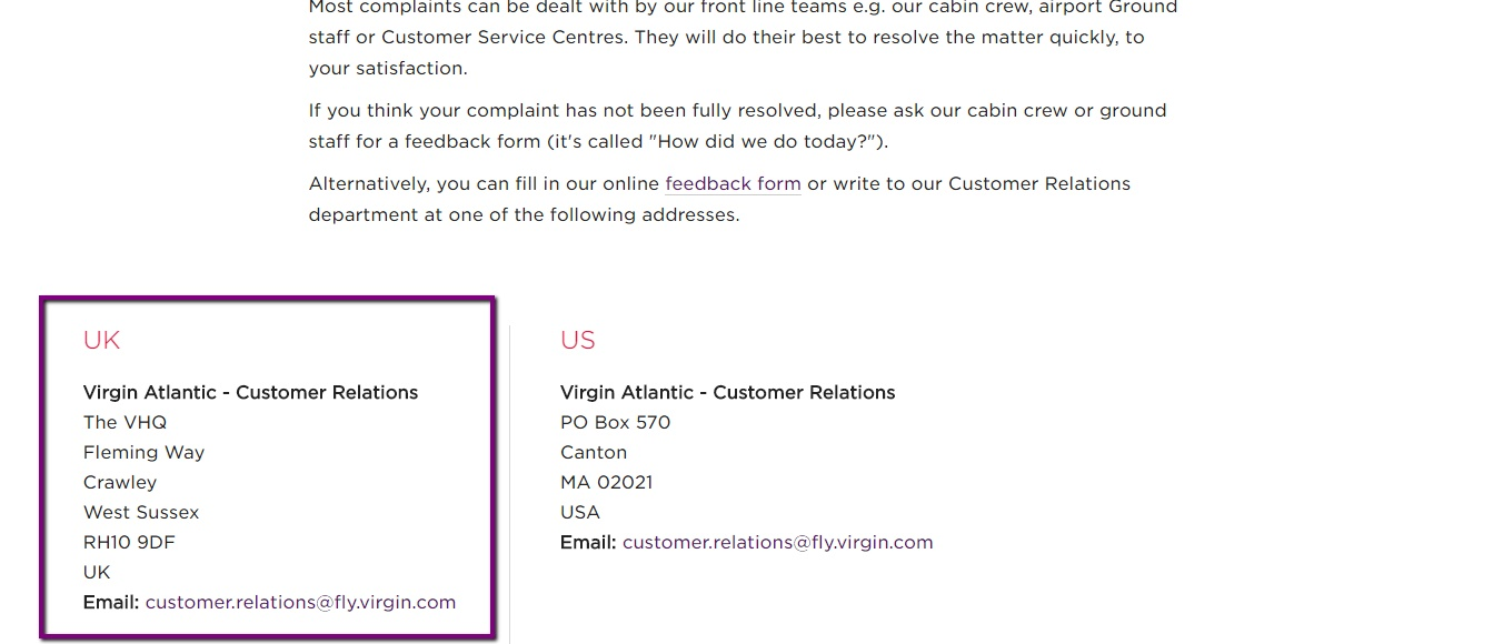 virgin atlantic complaints