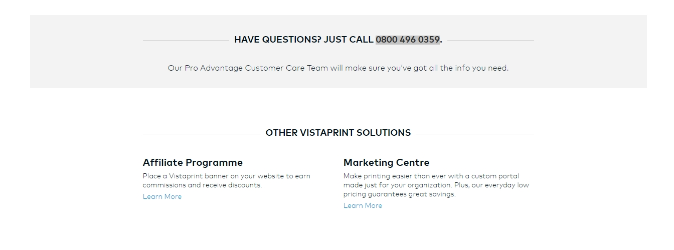 vistaprint pro advantage customer service