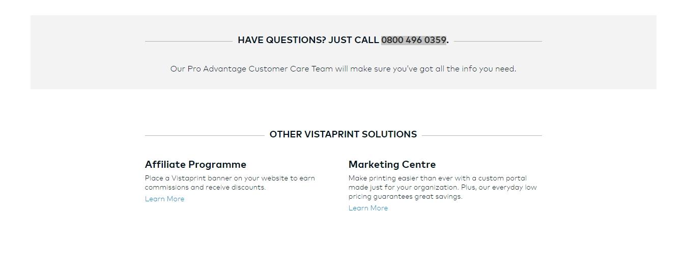 vistaprint pro advantage customer service