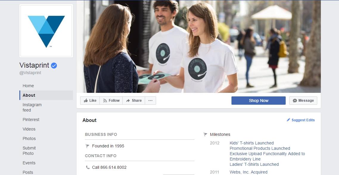 vistaprint facebook