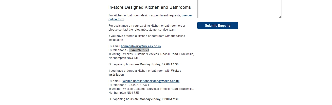 wickes existing order