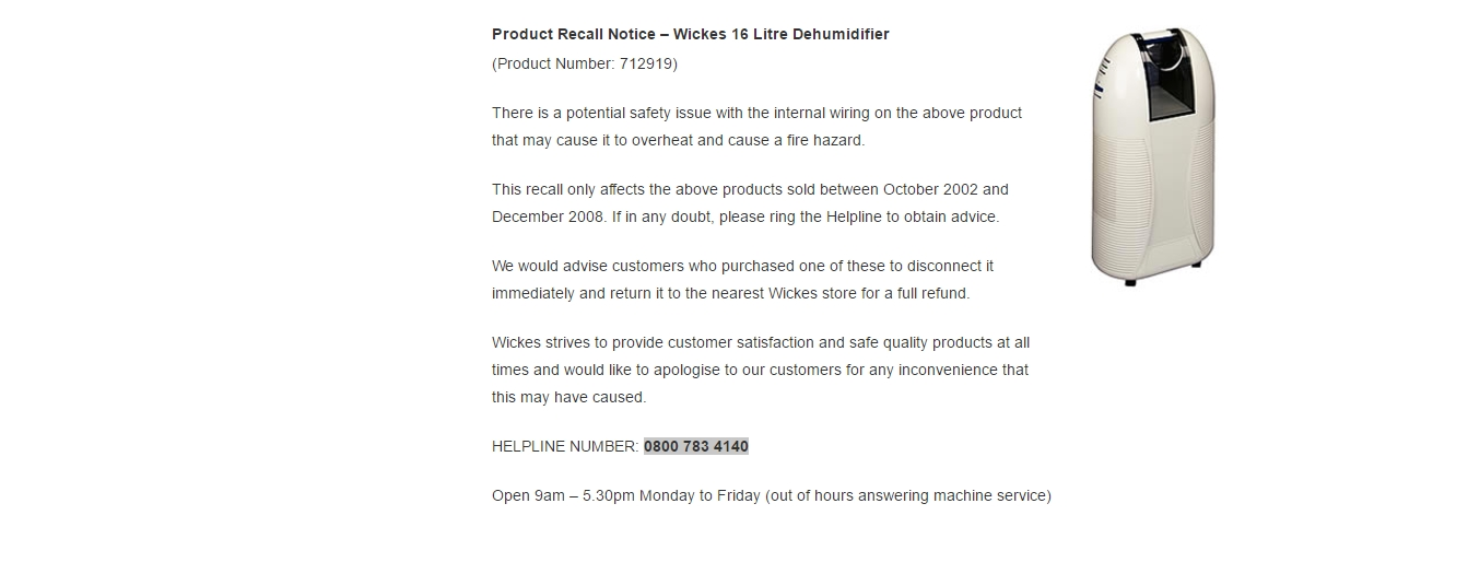 wickes product recall notice