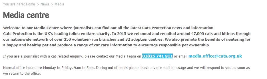 cats protection media centre