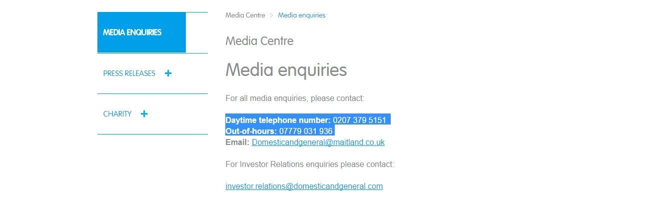 domestic & general media enquiries