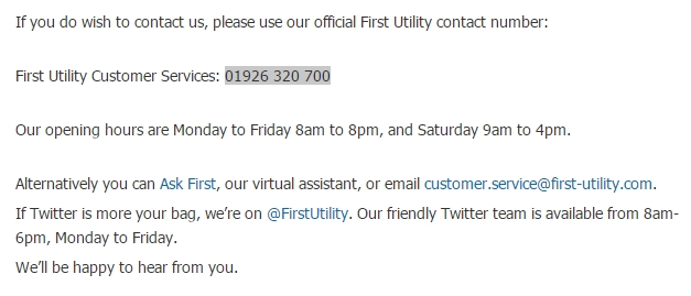 first utility customer service
