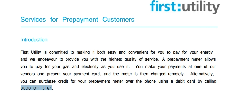 first utility prepayment enquiries