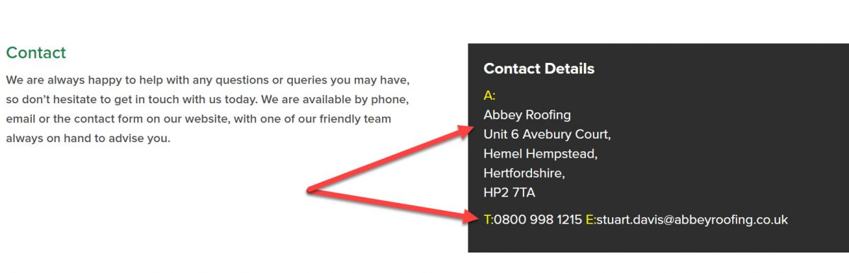 Abbey Roofing Phone Numbers