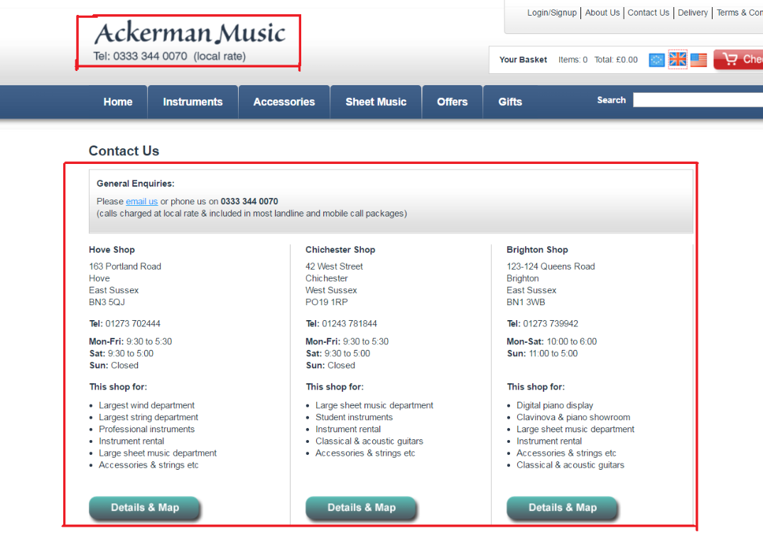 Ackerman Music Contact numbers