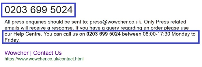 Wowcher: Customer Services Contact Number – 0843 557 4605