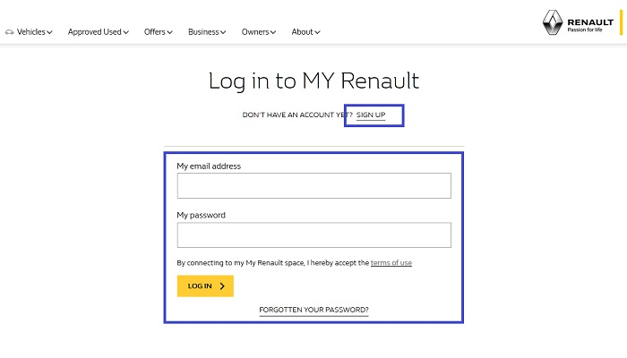 login_page_on_Renault_UK_website