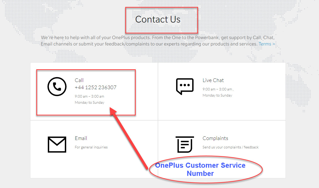 OnePlus service and support number