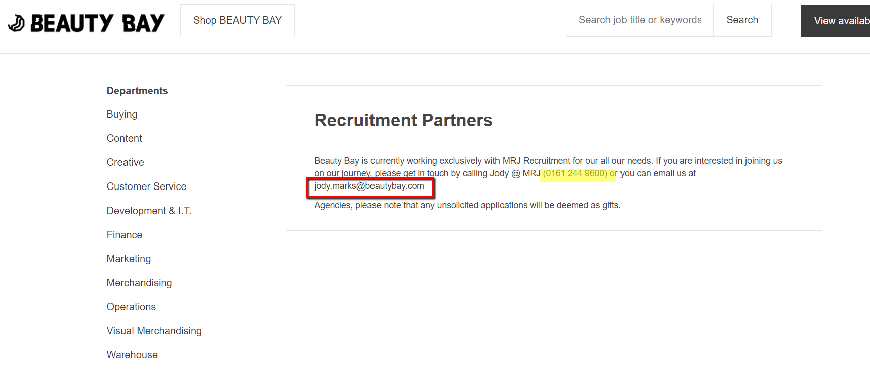 Beauty Bay Recruitment Number