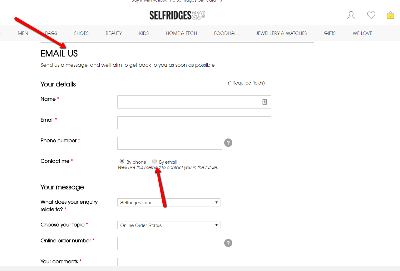 Selfridges free online email contact