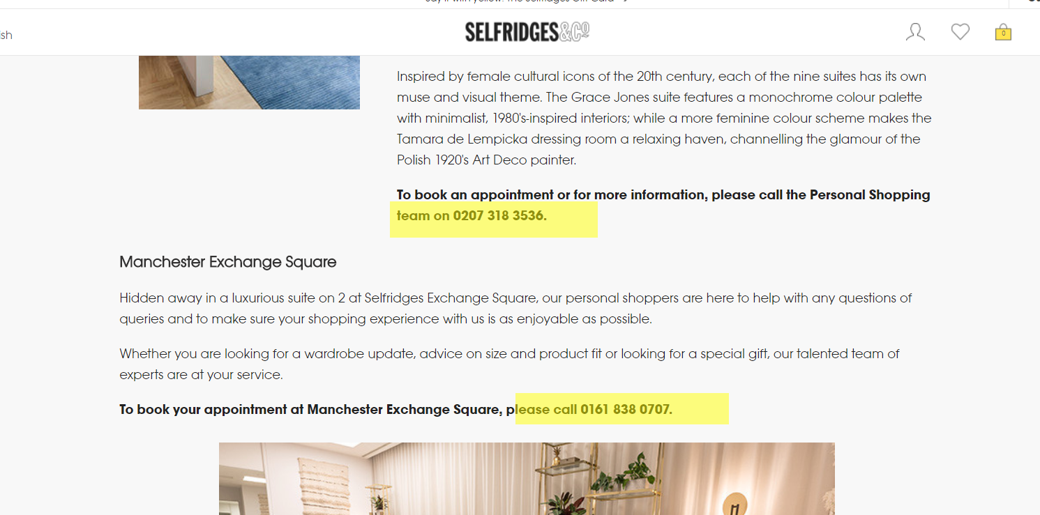 Selfridges womens personal shopping number
