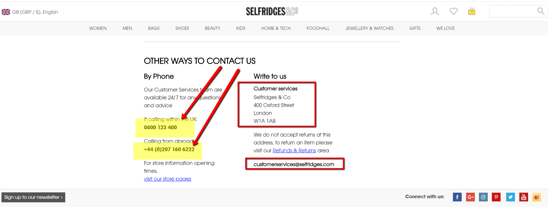 selfridges contact number